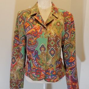 David Meister Wool Blazer Jacket 14 Paisley EUC